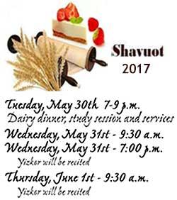 Shavuot 2017 Services