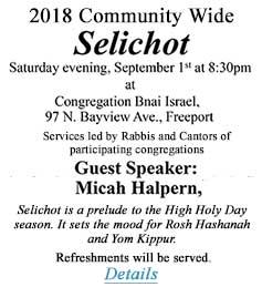Selichot 2018 Services