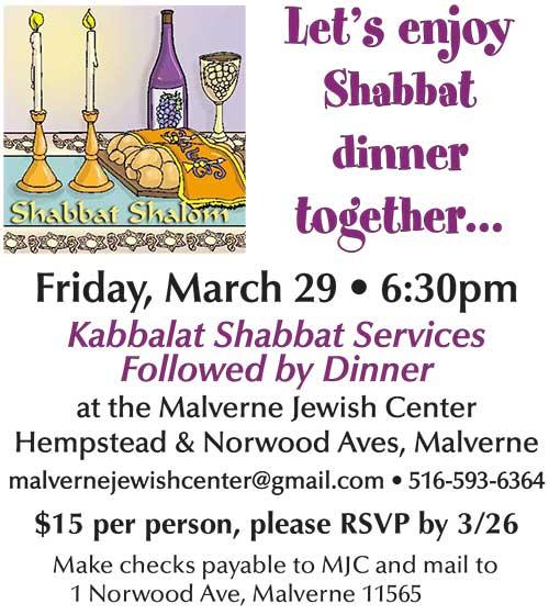 Shabbat Dinner 3/29/19